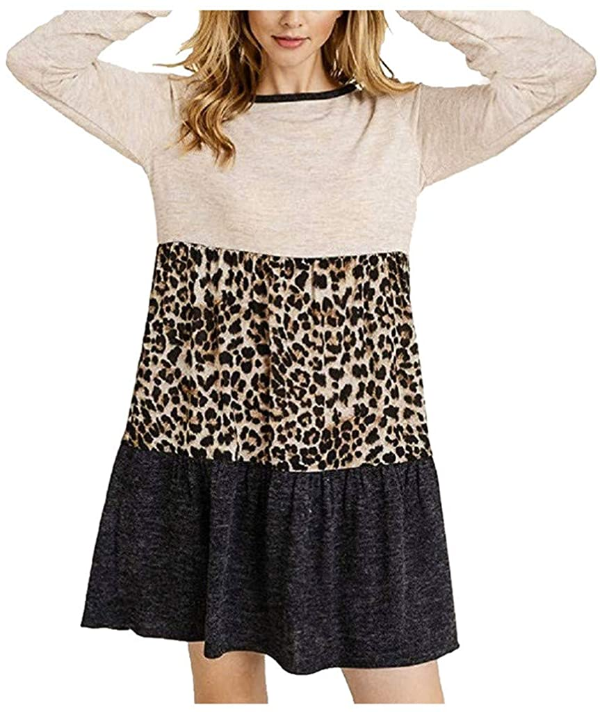 Women's Round Neck Long Sleeve A-Line Dress Leopard Print Splice Layered Tunic Dresses