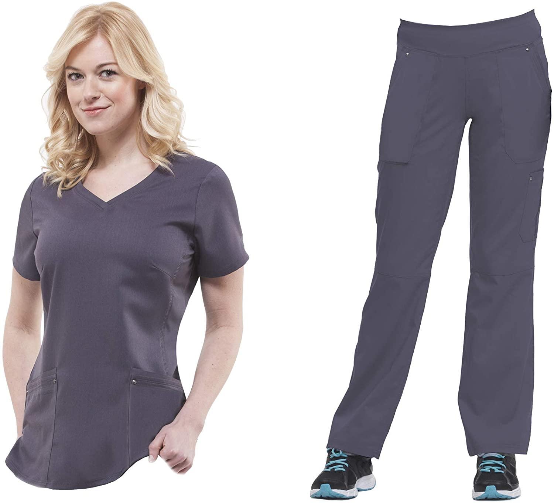 healing hands Purple Label Yoga Juliet 2245 V-Neck Scrub Top/9133 Tori Knit Waist Pant Pewter-Medium/Medium