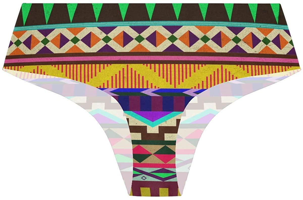 Street Style Aztec Patterns Womens Seamless Underwear Invisible Bikini No Show Thong Panties