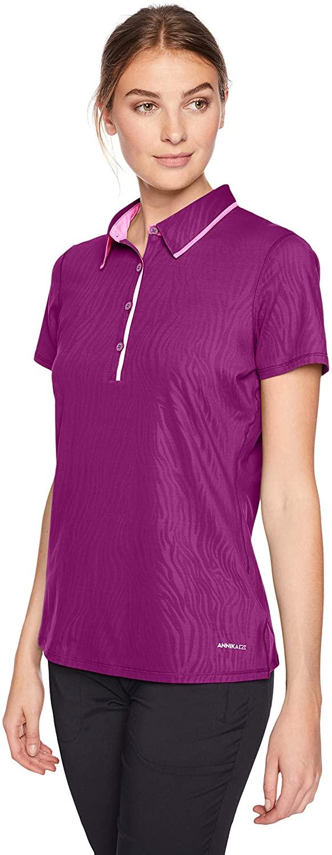 Cutter Women's Moisture Wicking UPF 50+ Emboss Short Sleeve Polo Shirt