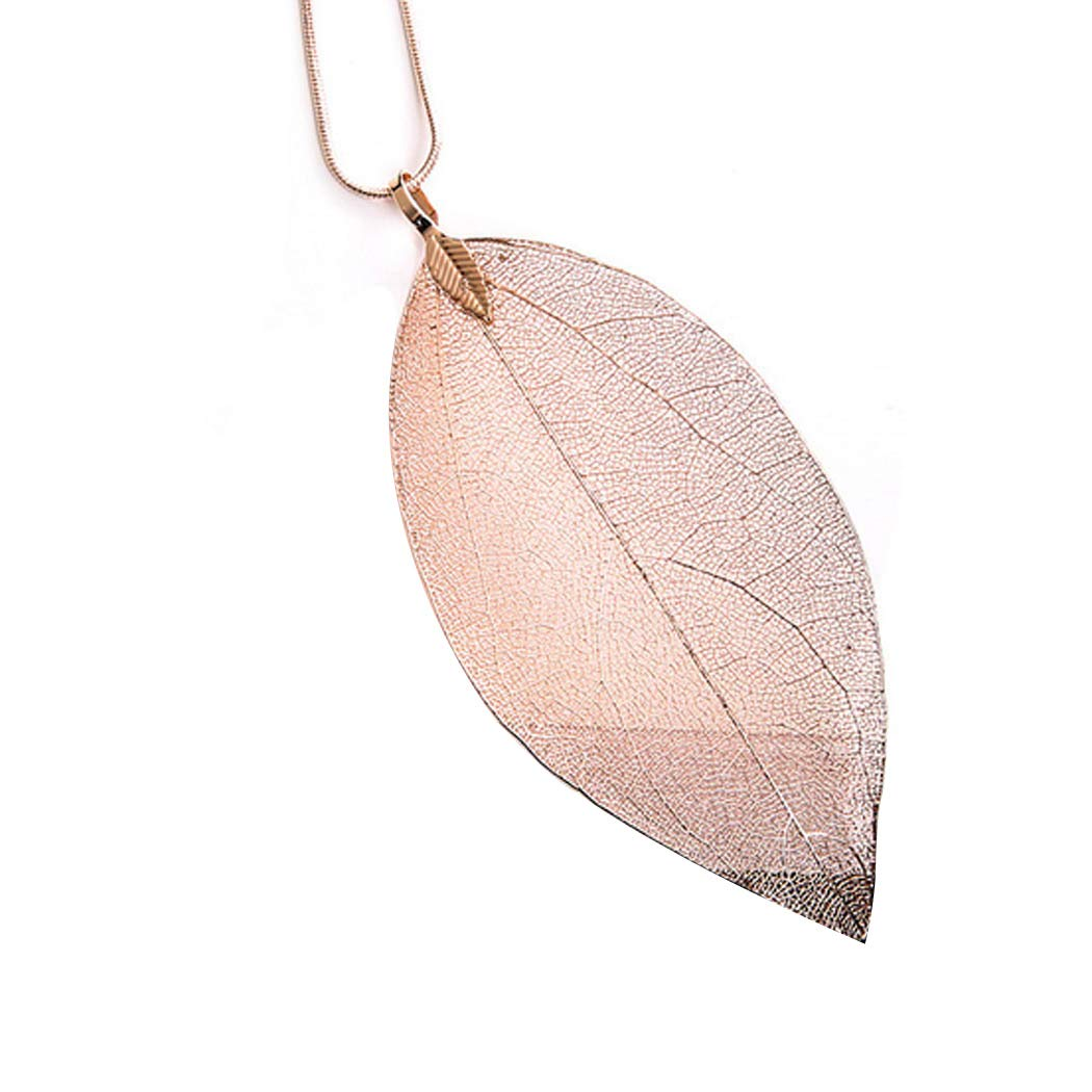 Unicra Fashion Leaf Pendant Necklaces Long Tassel Necklace Y Chain Necklaces Jewelry for Women and girls Bohemian Accessories for Party and Evening (Rose Gold)