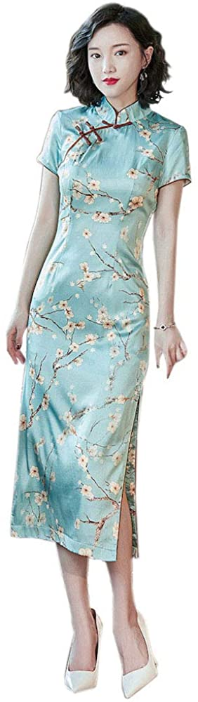 HangErFeng Qipao Silk Chinese Element Pattern Traditional Ink Printing Short Sleeve Cheongsam