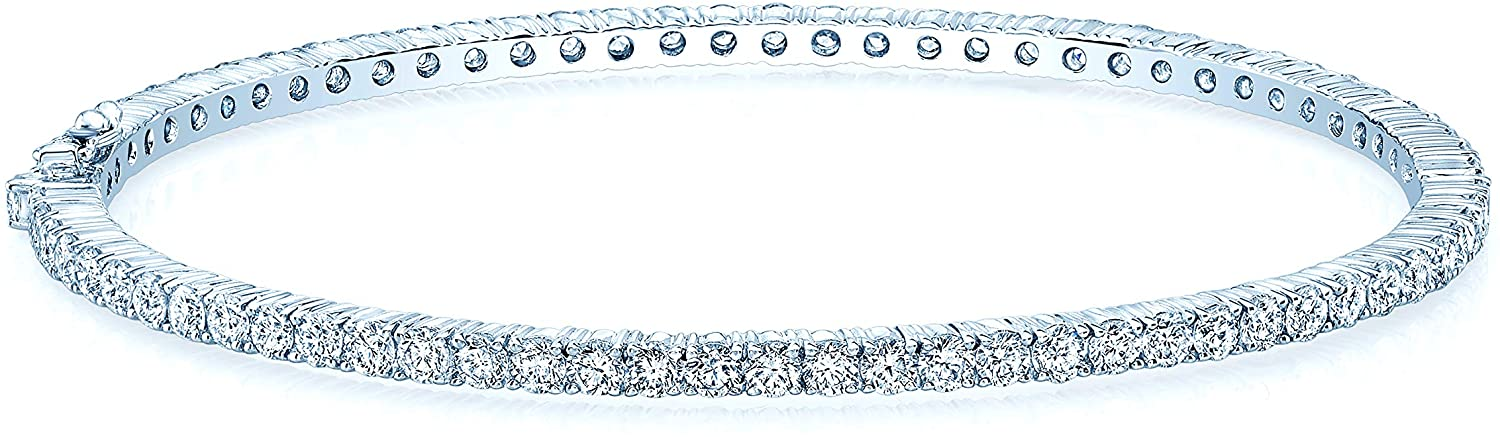 Olive & Hill Fine Jewelry 18K White Gold 4-3/4 Cttw White-Diamond Bangle Bracelet (H-I Color, SI1-SI2 Clarity) - 7.5