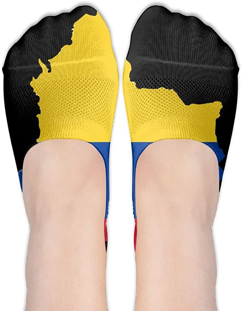 Colombia Flag Map Womens Low Cut Socks No Show Liner Boot Sock Athletic Socks Thin Fit