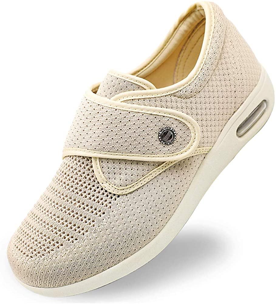 Orthoshoes Women's Elderly Shoes Mesh Breathable Lightweight Walking Sneakers Adjustable Edema Slippers for Diabetic, Swollen Feet