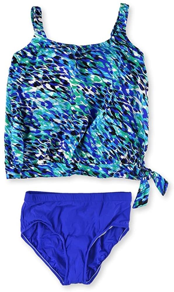 Swim Solutions Womens Side Tie High Waist 2 Piece Tankini