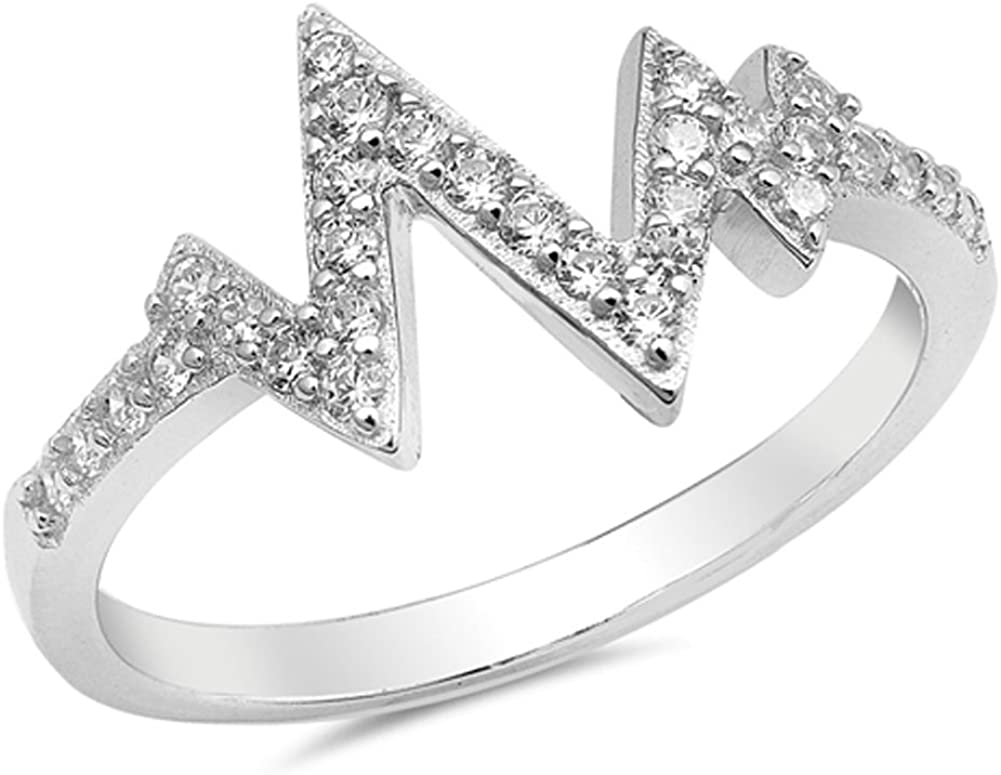 Heartbeat V Shaped Clear CZ Fashion Ring New 925 Sterling Silver Band Sizes 4-10