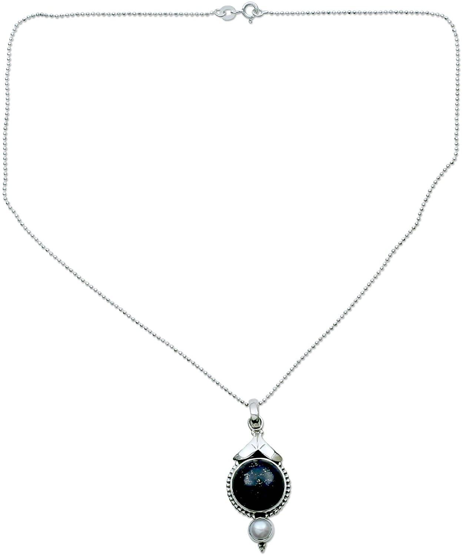 NOVICA Lapis Lazuli Cream Cultured Akoya Pearl .925 Sterling Silver Necklace 'Haryana Harmony'