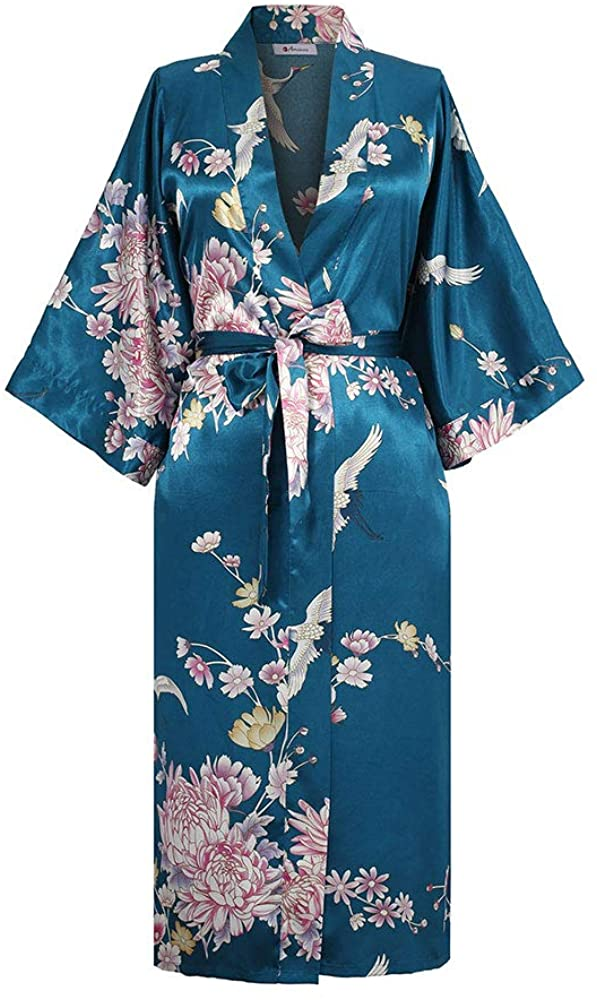Applesauce - 868 - Plus Size/Regular Size Women's Satin Kimono Long Robe – Floral (US Size XS/S, M/L, 1X/2X, 3X/4X)