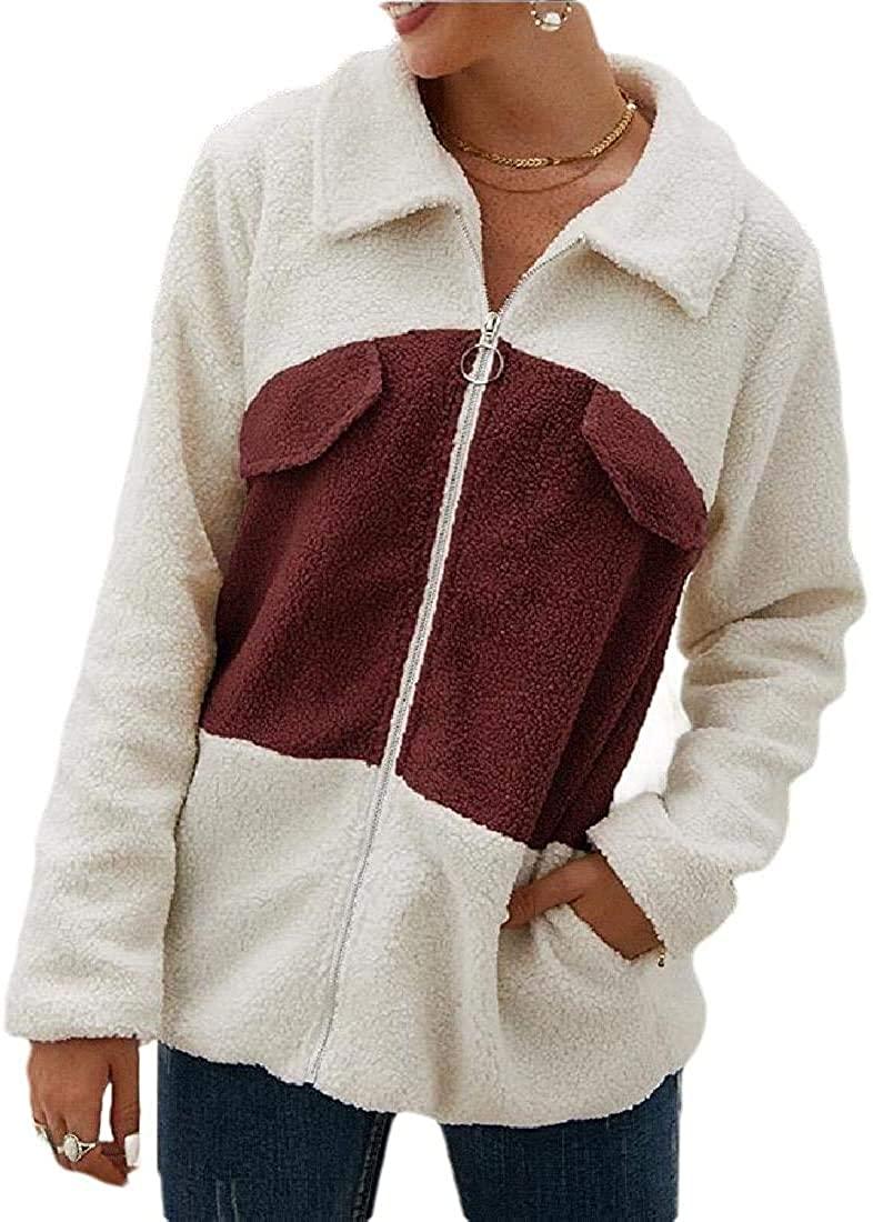 Womens Faux Shearling Coat Casual Lapel Fleece Zipper Warm Overcoats Plush Jacket