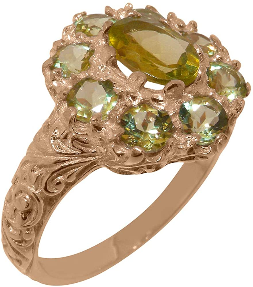 Solid 18k Rose Gold Natural Peridot Womens Cluster Ring - Sizes 4 to 12 Available