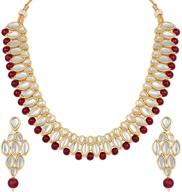Aheli Fancy Party Wear Pearl Drop Kundan Necklace and Earrings Set Jewelry for Women Girls
