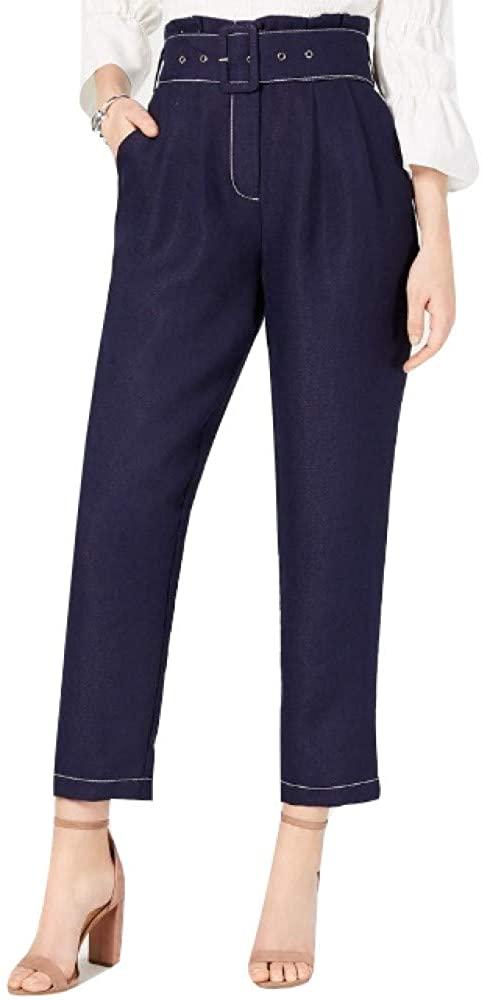 Moon River Womens Linen Blend Wide Leg Paperbag Pants
