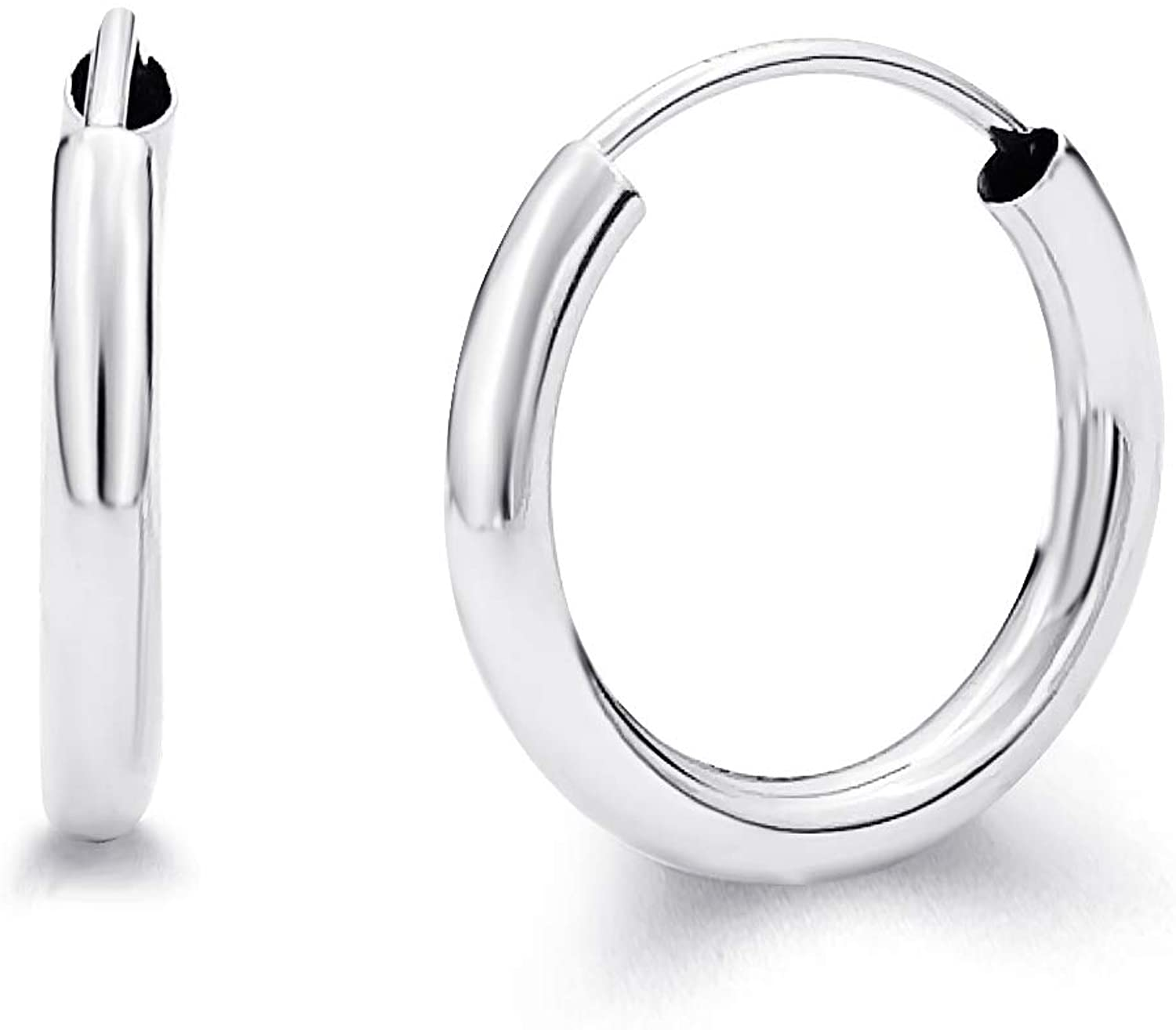 14k White Gold 2mm Thickness Endless Hoop Earrings - 9 Different Size Available