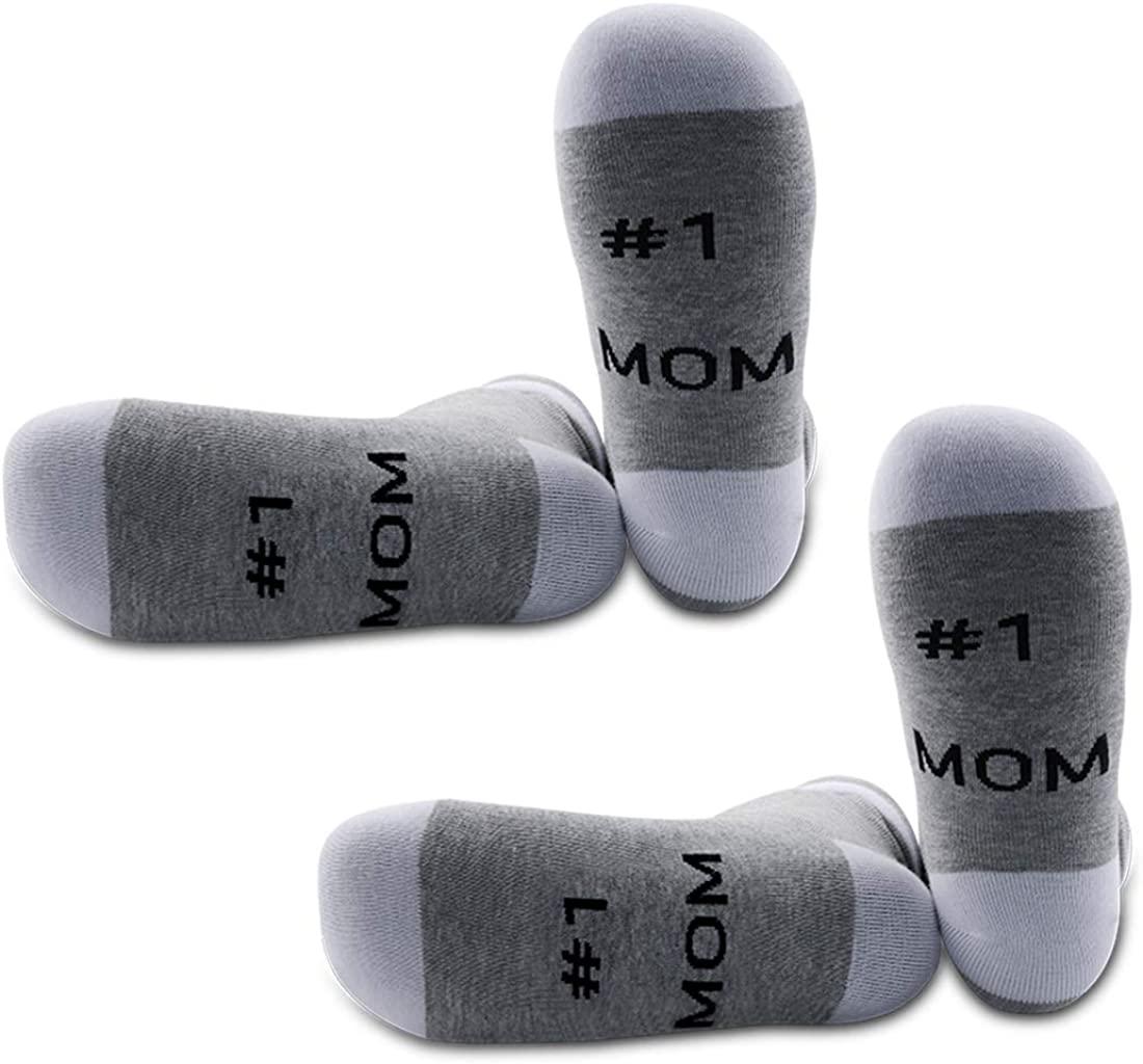 JXGZSO Mothers Day Gift Idea Mom Socks No. 1 Mom Socks #1 Mummy Gift Top Mom Best Mom Ever Birthday Gift For Mom