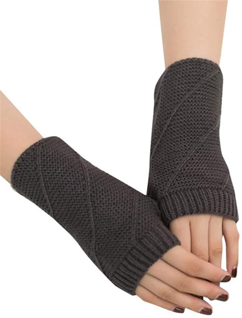 Fashion Knitted Hand Warm Arm Winter Gloves Fingerless Gloves Women Soft Warm Mitten Guantes
