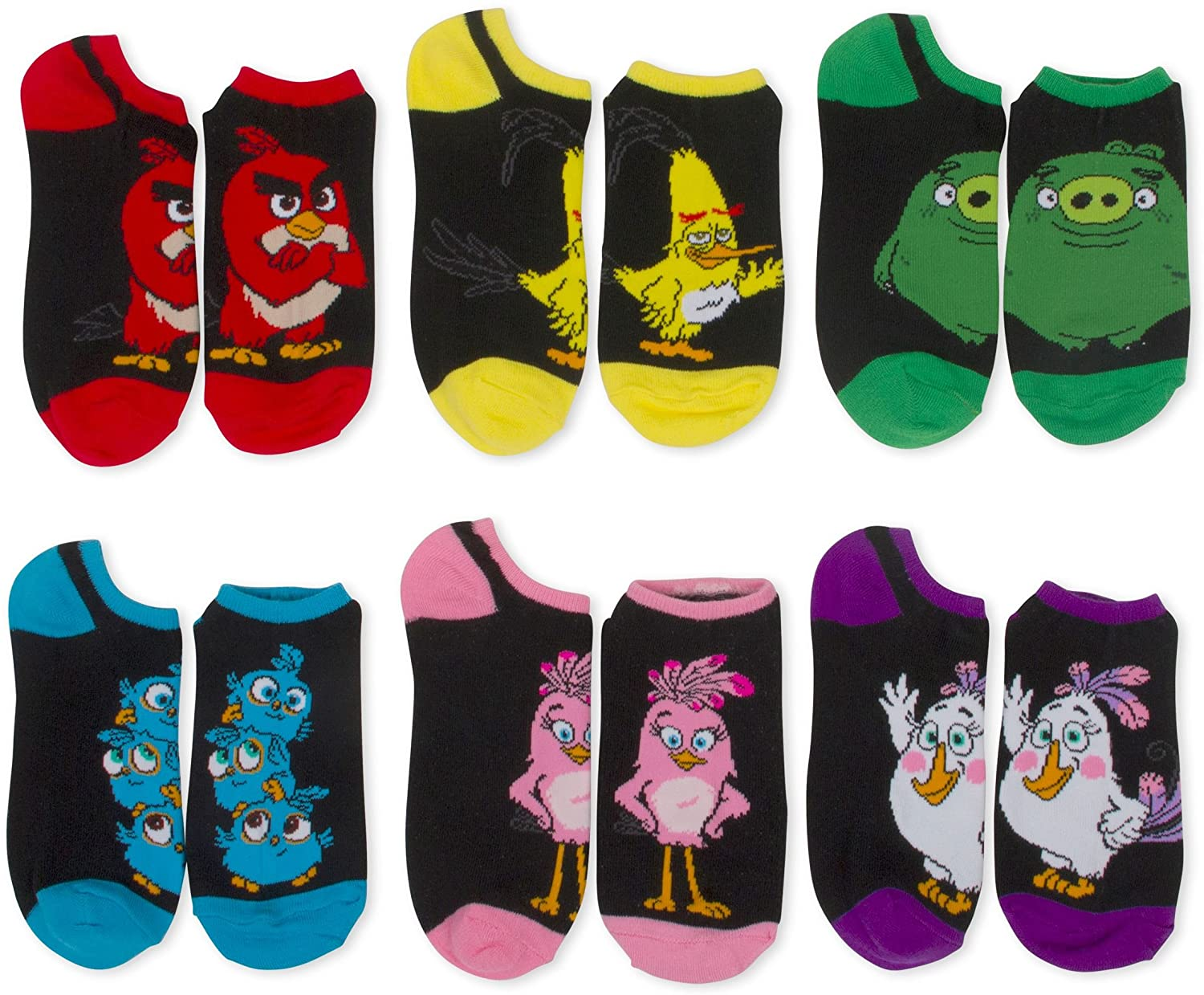 Womens Angry Birds Low Cut No Shows Socks - 6 Pairs