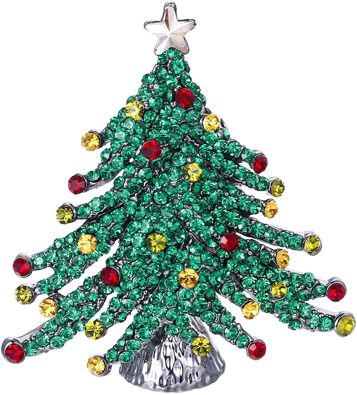 EVER FAITH Austrian Crystal Stunning Winter Christmas Tree w/Little Star Brooch Green Black-Tone