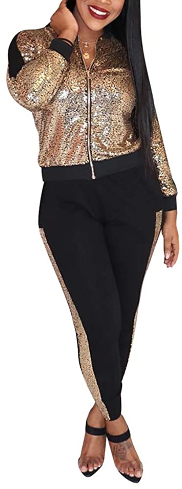 ASST 2 Women's Sportswear Suits, Sequined Long-Sleeved Zipper Jacket and Pants Suit