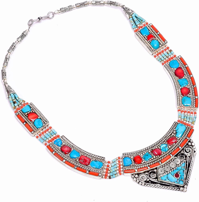 kanta incorporation Turquoise Red Coral Gemstone Tibetan Handmade Jewelry Necklace 17