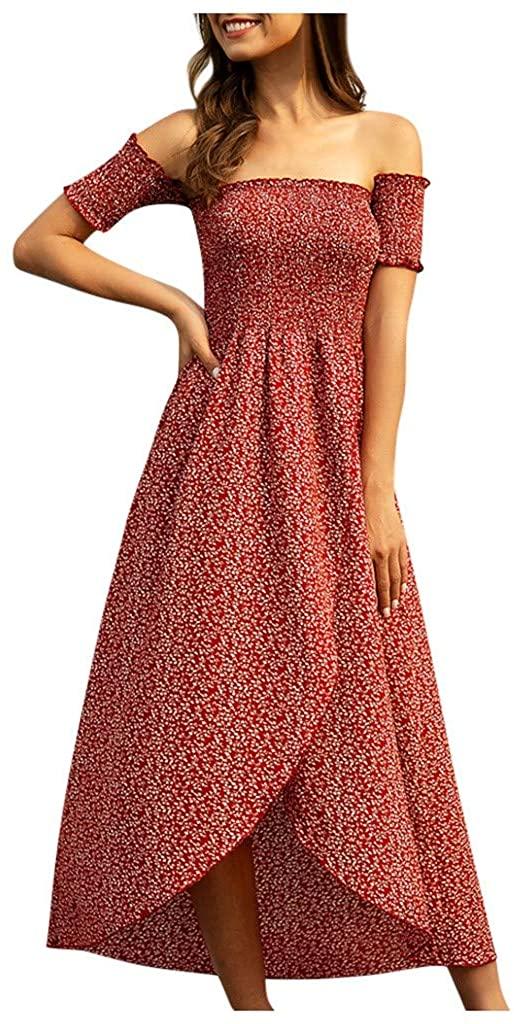 SPORTTIN Split Maxi Dress Off The Shoulder Boho Floral Print Short Sleeve Long Dress for Summmer Party Beach