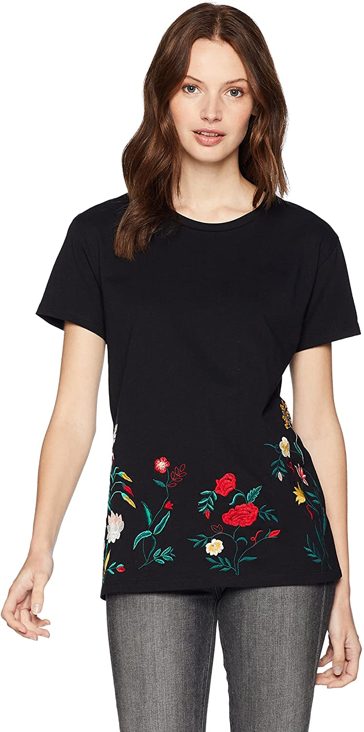 Serene Bohemian Women's Round Neck Basic Tee with Floral Embroidery at The Hem