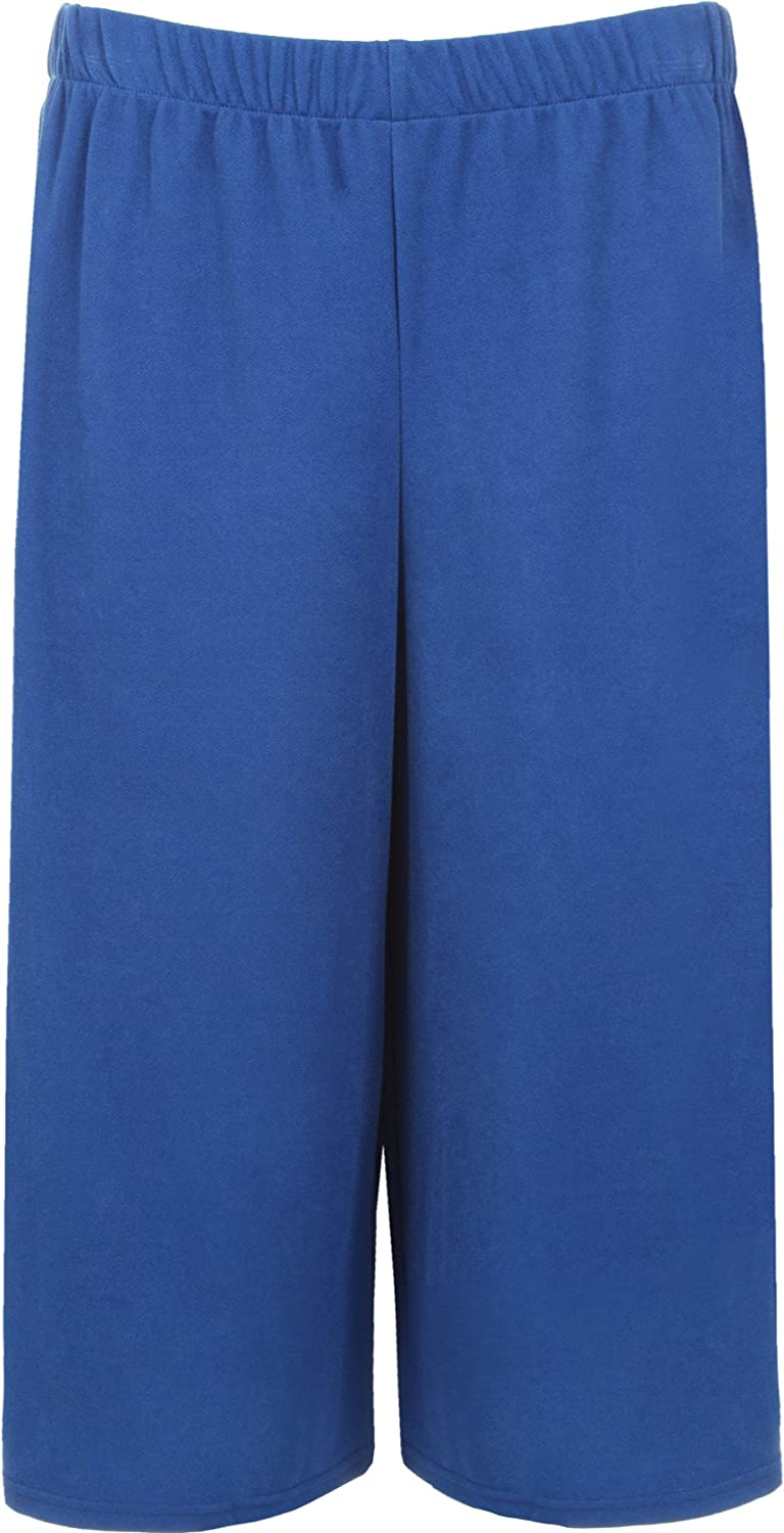WearAll Women's Crepe Plain Stretch Wide Leg Culottes Shorts - Royal Blue - US 12-14 (UK 16-18)