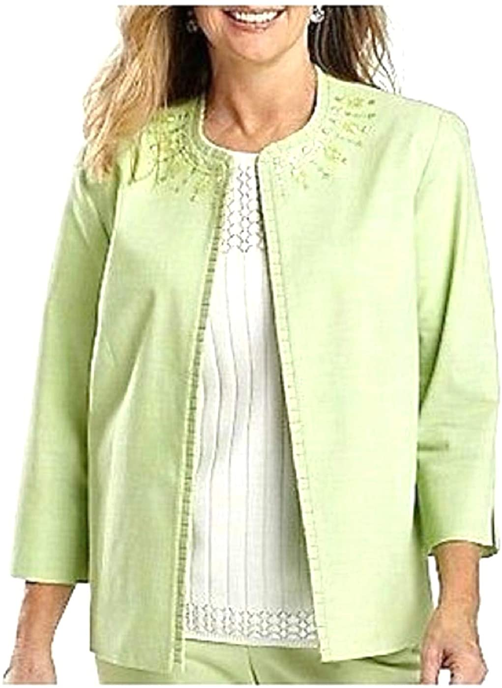 Alfred Dunner New Primrose Garden Beaded Jacket Size 12 Color: Mint Green