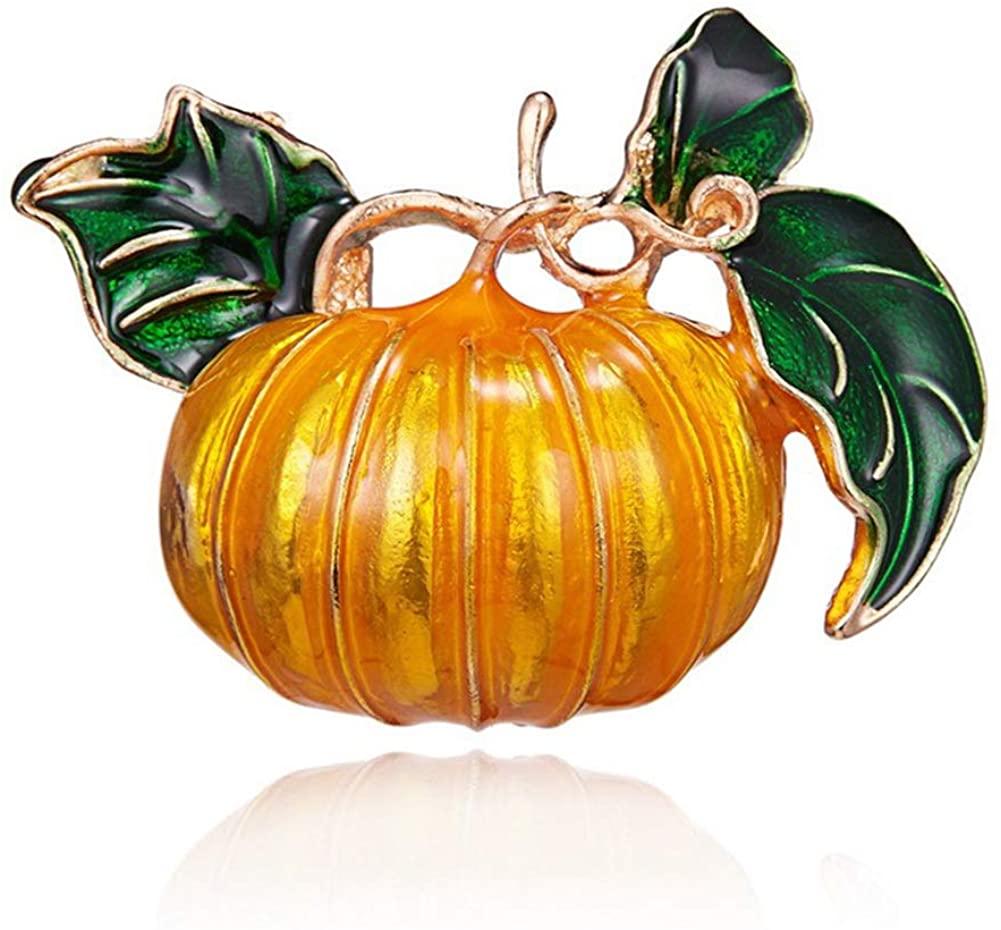 AILUOR Halloween Enamel Pumpkin Brooch Pins, Cute Funny Rhinestone Hat Witch Pin Jewelry Gift for Men Women