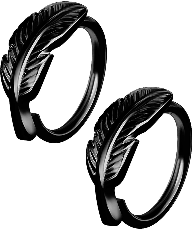 BIG GAUGES Pair of 316L Surgical Steel 16g Gauge 1.2mm 8mm Leaf Style Anodized Piercing Tragus Helix Cartilage Hoop Ring Earrings Lobe