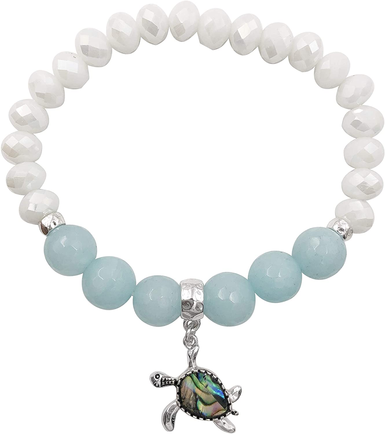 Abalone Shell Inlay Blue Natural Stone & Glass Beaded Sealife Silver Tone Charm Stretch Bracelet - Assorted Animals