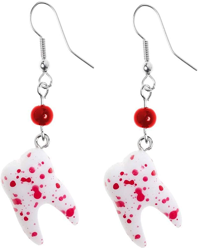 Bloody Tooth Drop Earrings from Sourpuss Clothing, Multi Colored, 9/16