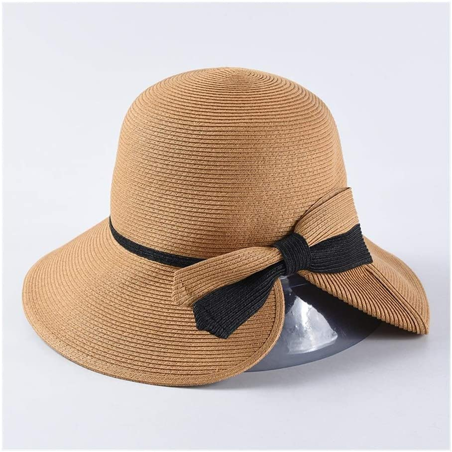 QinMei Zhou Fine Paper Grass Folding Straw hat Spring and Summer hat Female Elegant Dome Bow Straw hat Sun Visor (Color : The Color of camel's Hair)
