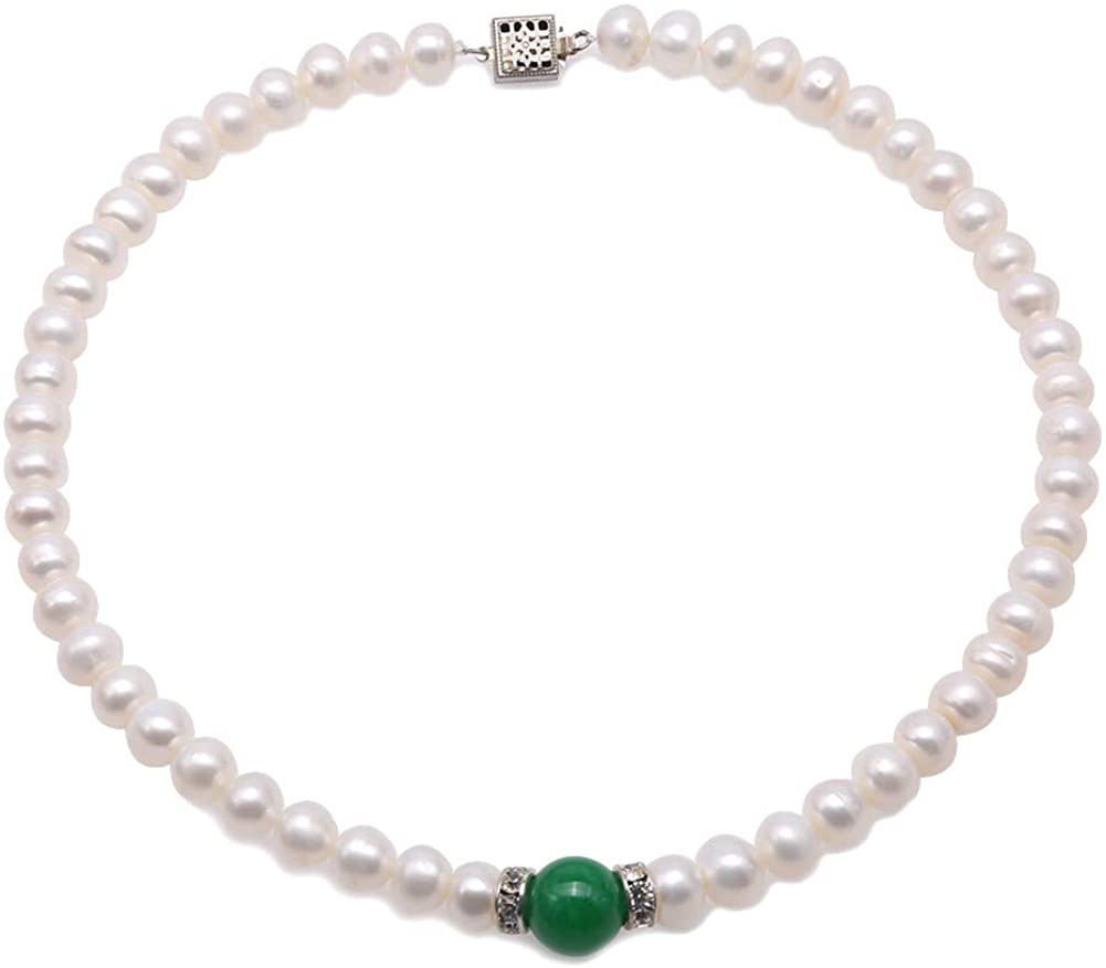 JYX Pearl Choker 8-9mm Natural White Flat Freswhater Pearl Necklace with Natural Jade for Women 16