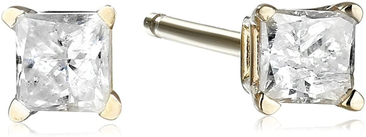 10k White Gold Princess Diamond Stud Earrings (J-K Color, I2-I3 Clarity)