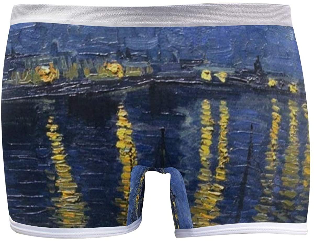 SLHFPX Starry Night Over The Rhone Vincent Van Gogh Boyshort Panties Womens Underwear Soft Boxer Briefs Boy Shorts