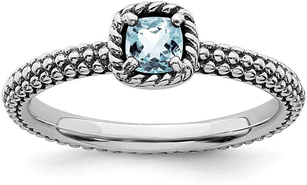 Roy Rose Jewelry Sterling Silver Stackable Expressions Checker-Cut Aquamarine Antiqued Ring-
