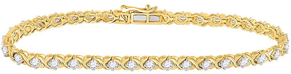 10kt Two-tone Gold Womens Round Diamond Tennis Bracelet 2.00 Cttw