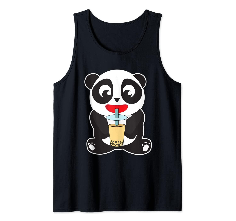 Cute Panda Drinking Boba Bubble Tea Lover Tank Top