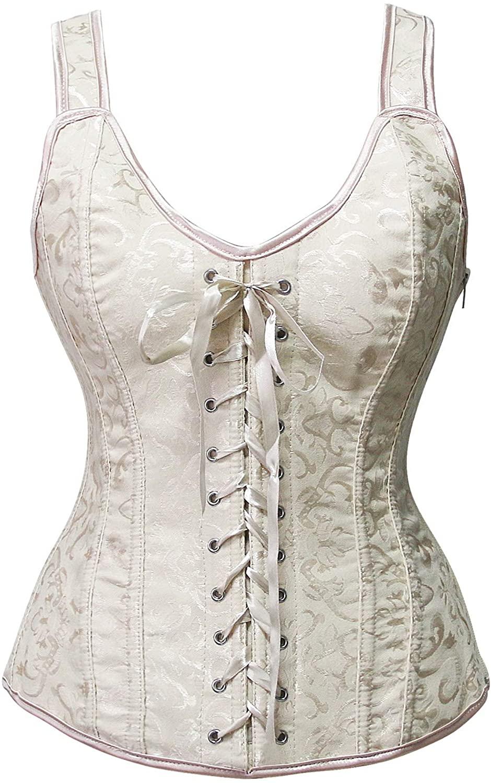 Sexy4Lady Women's Elegant Floral Shouler Strap Lace Up Boned Busiter Corset Vest