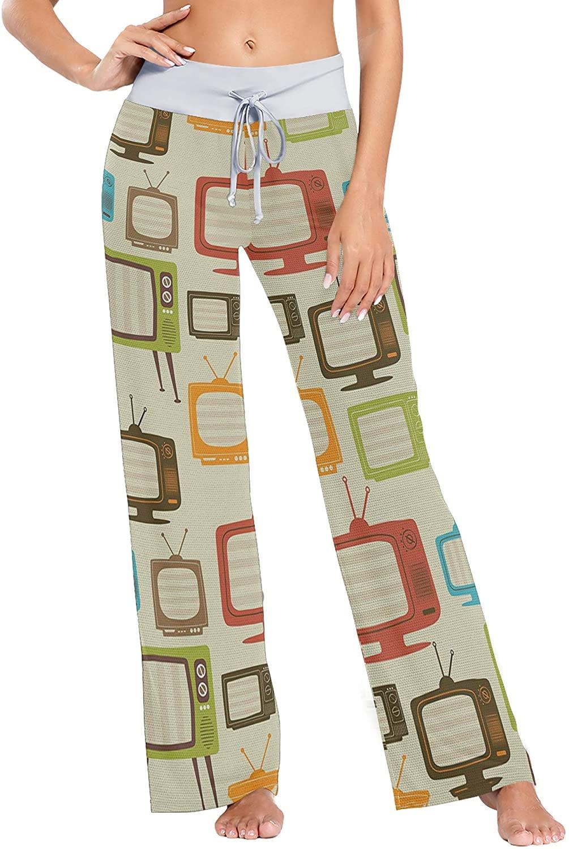 Yiaoflying Tv Retro Women's Pajama Pants Loose Long Lounge Sleepwear Pants