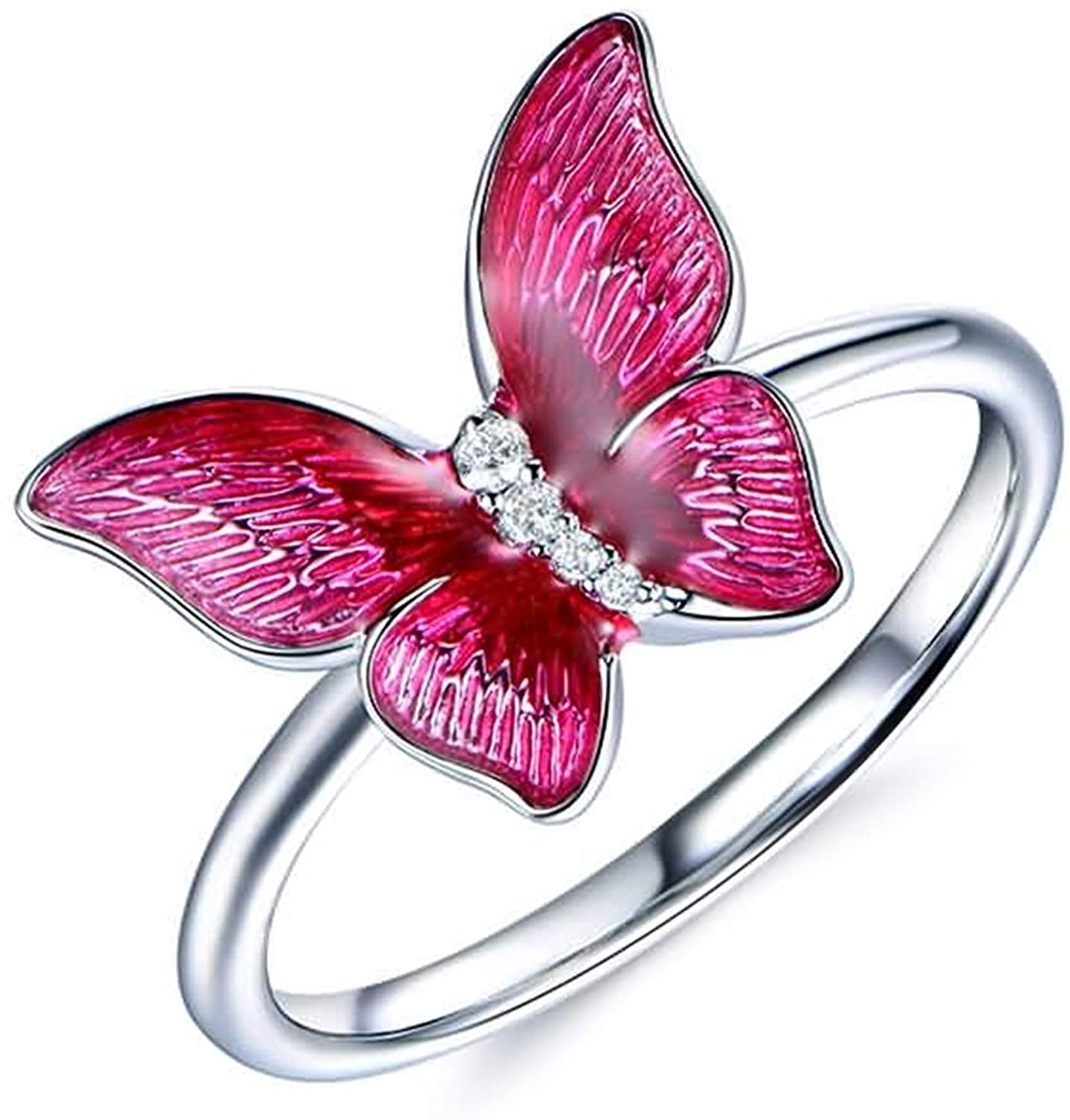 AMDXD Wedding Bands 18K White Gold, Butterfly with Diamond 0.03ct Anniversary Ring Gift for Her White Gold Size 4.5