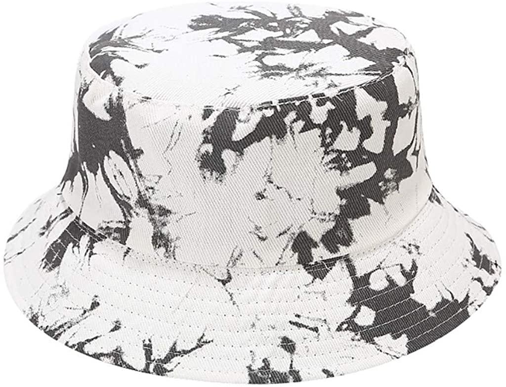 Bucket Hats for Men Sun Protection Women Summer Tie-Dyed Print Foldable Fisherman Sun Hat Cap Basin