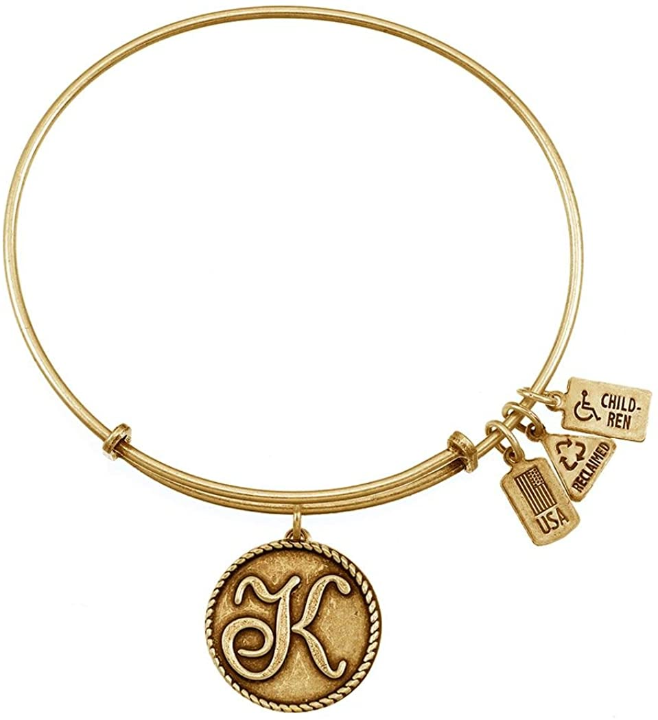 Wind and Fire Love Letter 'K' Gold Finish Charm Bangle