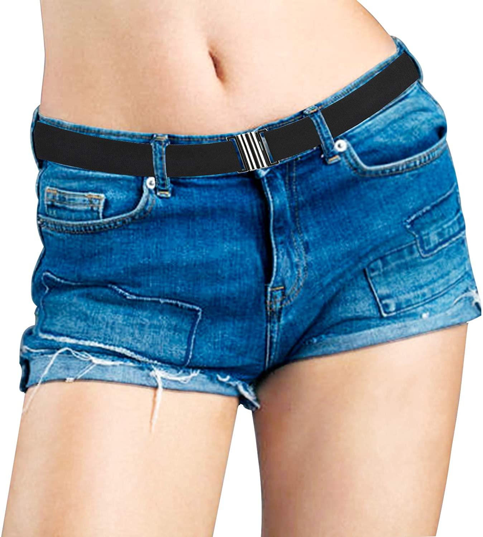 Women No Show Invisible Belt Comfortable Elastic Waist Adjustable Men Web Strap Belt Flat Buckle for Jeans Pants Dresses