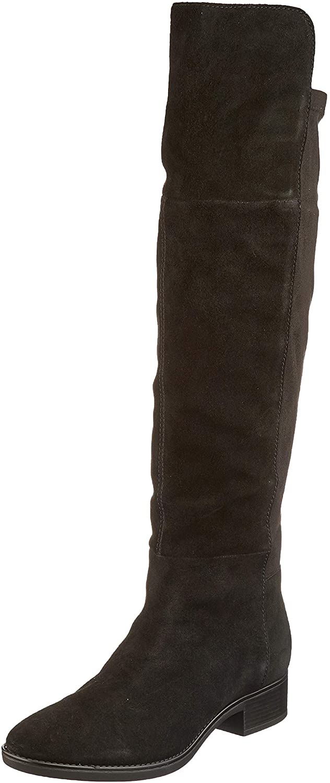 Geox Women's Overknee Boots, Black Black C9999, 2.5 UK