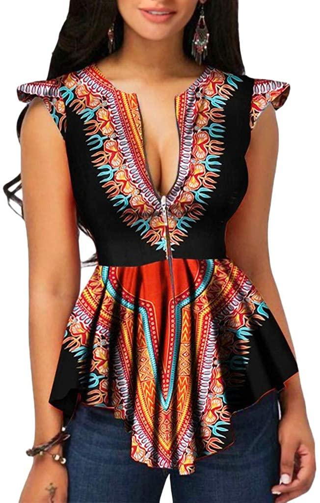 Goddessvan Summer Shirt for Women Casual Zipper African Printing Sleeveless Tunic Tops Blouse