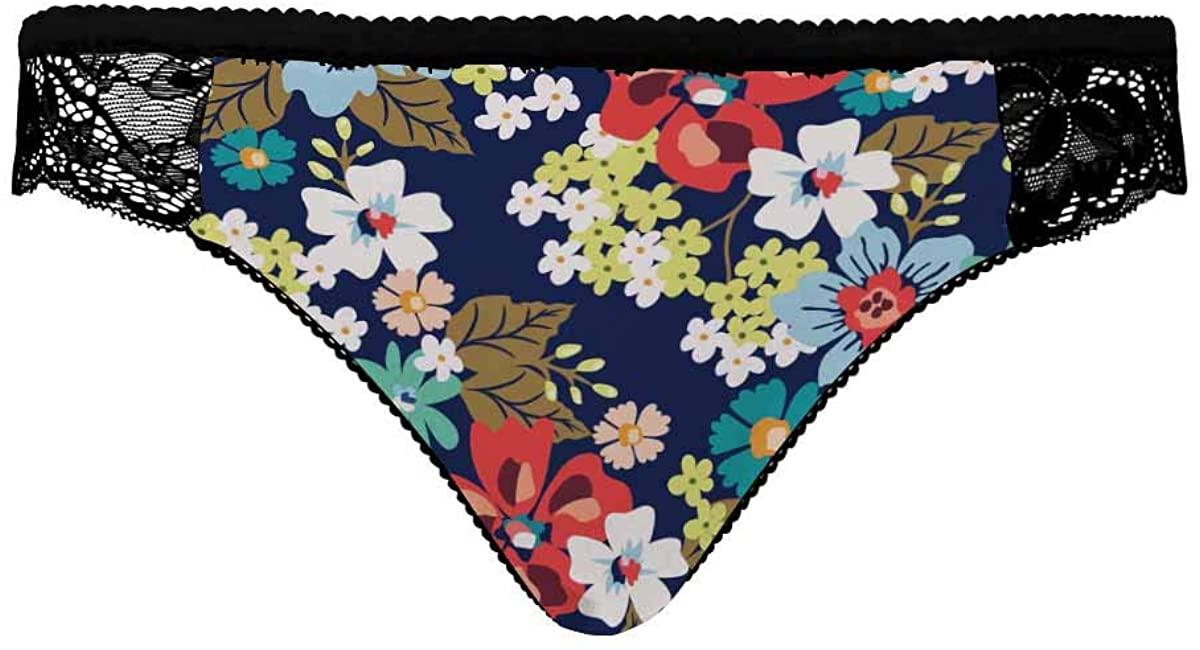 INTERESTPRINT Womens Underwear Briefs Soft Breathable Ladies Panties Colourful Beauty Flower