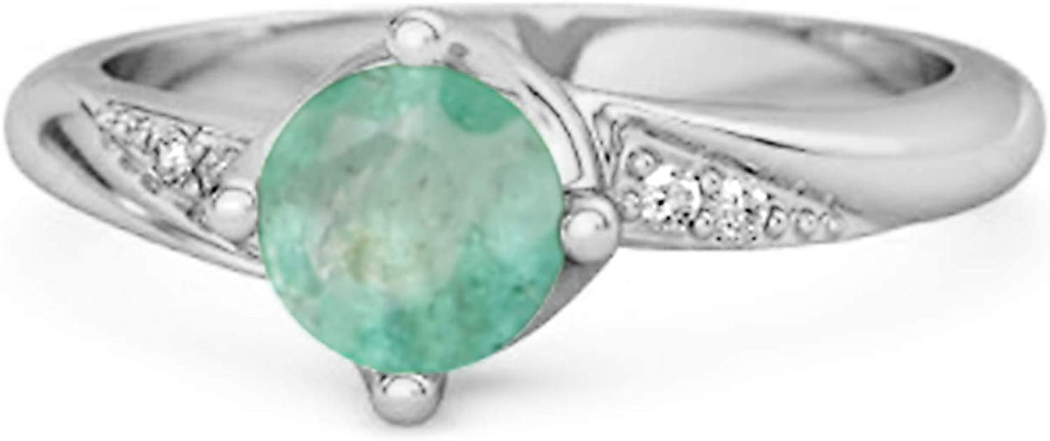 Solitaire 0.25 Ctw Emerald Gemstone Accents 925 Sterling Silver Women Ring