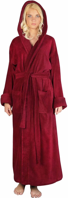 Arus Women's Full Length Long Hooded Soft Twist Robe Turkish Cotton Bathrobe